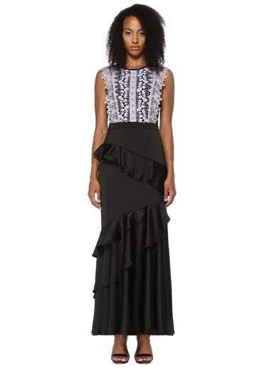 Floor Dantelli Asimetrik Volanlı Uzun Elbise Siyah